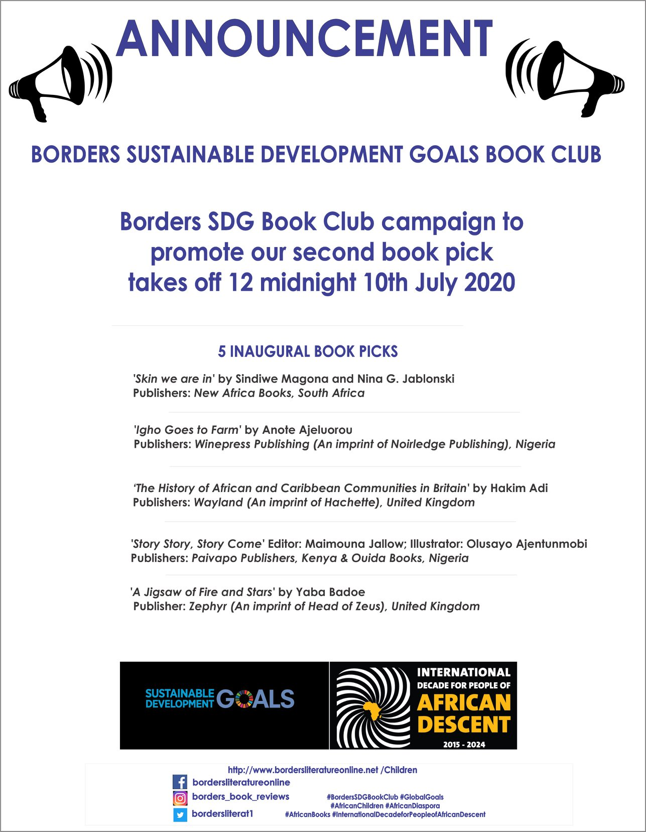 Borders SDG Book Club 5 Inaugural Book Picks July
