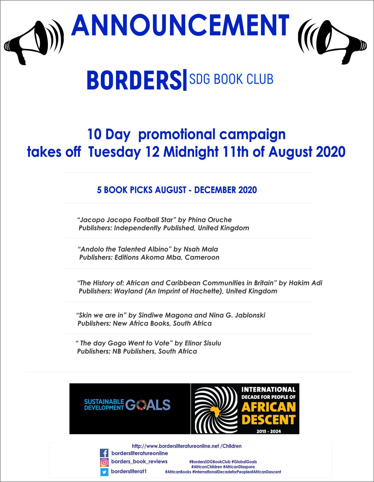 Borders SDG Book Club 5 Inaugural Book Picks August